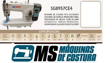 Máquina de Costura Industrial Reta Eletrônica c/ Direct Drive, 1 Agulha, 2 Fios, Corte de Linha, Transp. Simples, Lubrif. Automática, SG8957CE4 - Gemsy