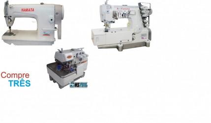 Kit= Reta+Galoneira+Overlock Industriais, completas -Yamata